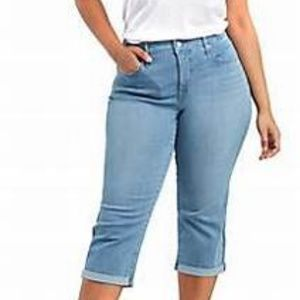 JMS cropped denim blue jeans capris pants size 26W